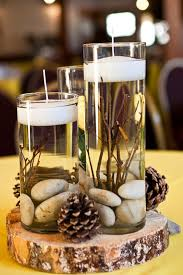 another view of center pieces 25 budget friendly rustic winter pinecone wedding ideas wedding