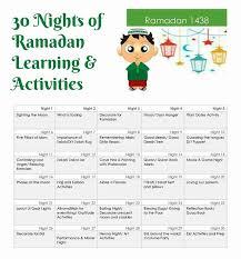30 ramadan activities kids printable calendar