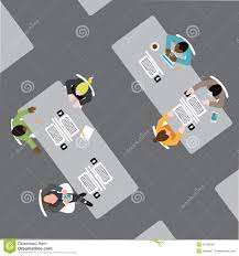 diverse group of business men and women in open plan office space