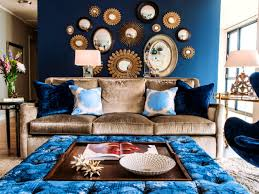 decorations beautiful blue walls living room dark furniture baby