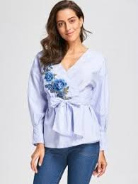 wrap blouses embroidery wrap blouse with tie belt blue stripe blouses m zaful