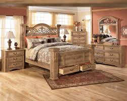 masculine wooden bed frame with storage drawers and upholstered