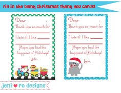fill in the blank christmas thank you cards free printable free