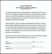 general release template sample general release form blank