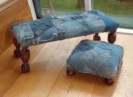 Denim Sofa Slipcovers by Why Not A Denim Patchwork Footstool Crafty Ideas Denim