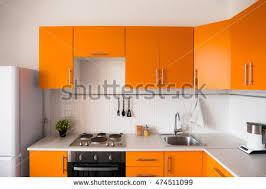 orange kitchen design orange kitchen set modern style stock photo 474511099 shutterstock