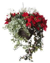 christmas hanging baskets with lights artificial nature 10 artificial outdoor hanging basket with red