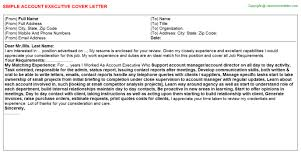 Executive Cover Letter Tips Account Executive Cover Letters