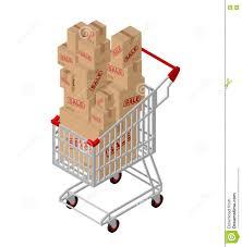 box cart shopping cart and box sale isometric stock photo image 73562480