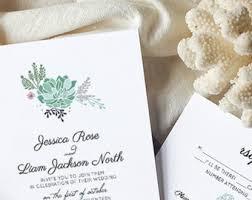 Succulent Wedding Invitations Succulent Invitation Etsy