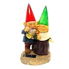 gnomes holding hearts and flower with solar powered light garden