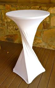 Round Patio Furniture Covers - small and high round cocktail table with custom white spandex