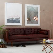 Modern Leather Sofa Mid Century Leather Sofa 80 West Elm