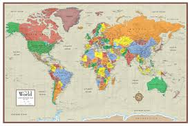 Ecuador On World Map by Contemporary Elite World Wall Map Poster Mural