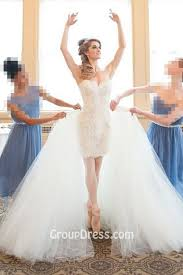 Princess Wedding Dresses Short Sheath Lace Gown With Tulle Overskirt Princess Wedding Dress