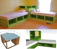 Twin Bed With Storage Diy Twin Corner Beds With Storage Home Design Garden