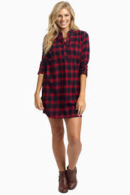 Maternity Plaid Shirt Navy Red Plaid Flannel Maternity Dress Tunic