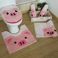 tappeti da bagno 3 pz set rosa maiale orso bruno tappetini da bagno fumetto di