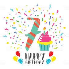 happy birthday card for 7 year kid fun party art stock vector art