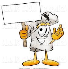 Vector Illustration Of A Happy Chef Hat Holding A Blank Sign And