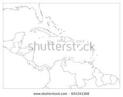 america map political blank central america carribean states political map stock vector