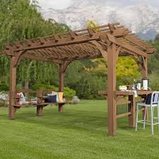 5 Ft Patio Swing With Cedar Pergola Create by Backyard Discovery Oasis 14 Ft W X 10 Ft D Pergola U0026 Reviews