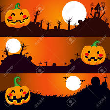 three horizontal halloween banners with pumpkin on a dark night