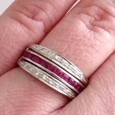 art deco platinum diamond sapphire ruby swivel flip day night ring