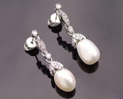 wedding earrings drop petal style pearl wedding earrings liliane jules
