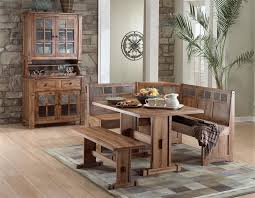 rustic oak breakfast nook and oak hutch buffet set