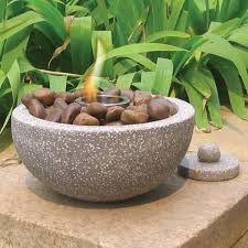 table gel fire bowls deeco dm 008 fb rock stone fire pot flowers gardens yard