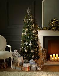 Pencil Christmas Tree Pre Lit Uk by 6ft Slim Highland Green Christmas Tree M U0026s