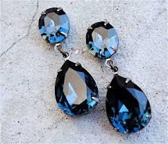 blue earrings vintage navy blue earrings swarovski earrings tear drop