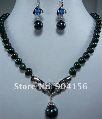 fashion black pearl necklace images Black pearl pendant necklace blue fashion earring jewelry set free jpg