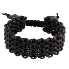 black bracelet charms images Men 39 s matte black chain black leather sport links bracelet with jpg