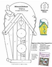 free stained glass pattern 2226 whimsical birdhouse whimsical