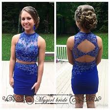 royal blue tight homecoming dresses two piece modest short prom