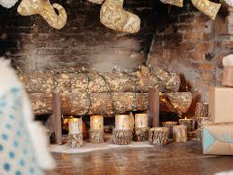 Scented Fireplace Logs by Wrap Lights Around Logs For A Festive And Fire Free Fireplace
