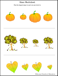 fall activity sheets for preschoolers learning sizes worksheet