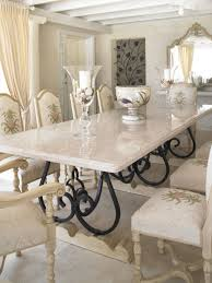 kitchen long white marble dining table of large glass candle