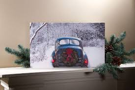 radiance flickering light canvas vintage car with lighted wreath wall art