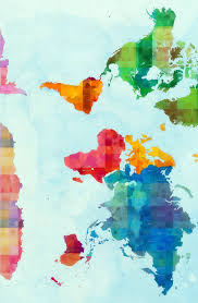 Watercolor Map Of The World by Spoonflower World Map Wallpaper Darci Spoonflower