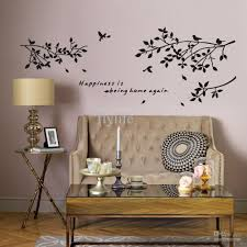 happiness is being home again vinyl quotes wall stickers and black happiness is being home again vinyl quotes wall stickers and black tree branch with birds art decor decals for home living room wall sticker decoration art