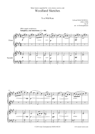 to a wild rose piano duet sheet music by edward macdowell piano