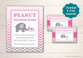 printable elephant baby shower guessing game set pink and