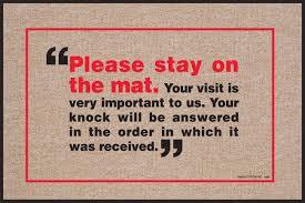 amazon com please stay on the mat indoor outdoor doormat funny