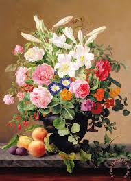 flowers and fruit v hoier still with flowers and fruit painting still