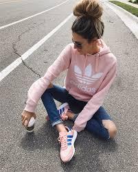 light pink adidas sweatshirt trefoil hoodie by adidas originals