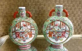 Chinese Home Decor Vintage Chinese Enameled Porcelain Flasks Signed Famille Verte