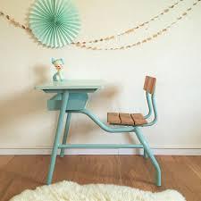 bureau ecolier 1 place pupitre d écolier vintage 1 place en bois et métal rénové chouette